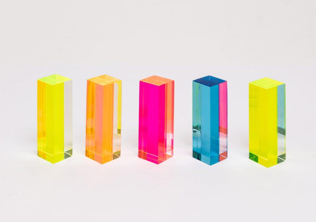 Assemblage-acrylic and laminated blocks